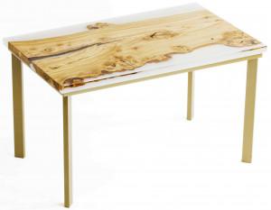 Обеденный стол из карагача с прозрачной заливкой