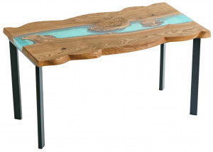 Обеденный стол из спила карагача с заливкой тиффани