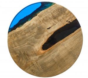 Стол из тополя с синей заливкой