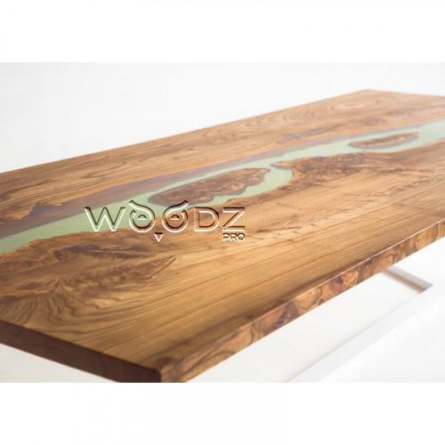 Обеденный стол из карагача с зеленой рекой - Model 176/1