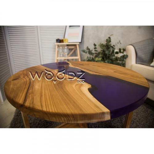 Журнальный столик Карагач с эпоксидной смолой круглый