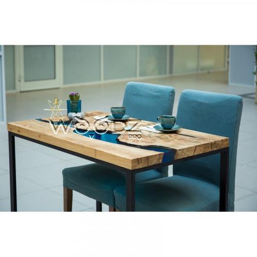 Стол из Карагача с рекой голубого цвета - Model 911