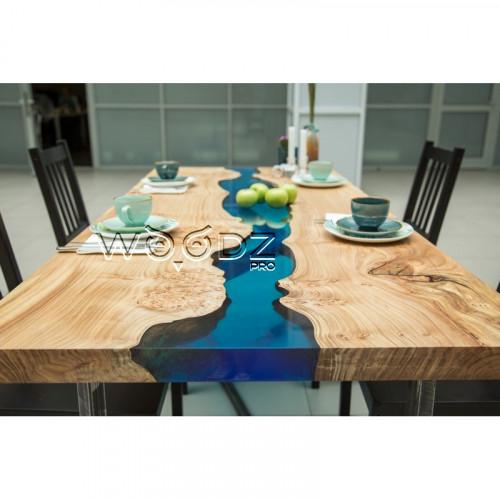 Обеденный стол с голубой рекой из Карагача - Model 905