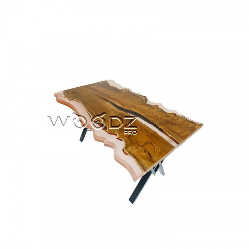 Стол из шелковицы с прозрачной розовой заливкой - Model 172