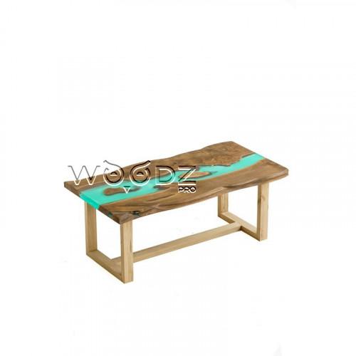 Стол из карагача с заливкой тиффани