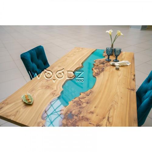 Обеденный стол из Карагача с рекой смешанного цвета - Model 1569
