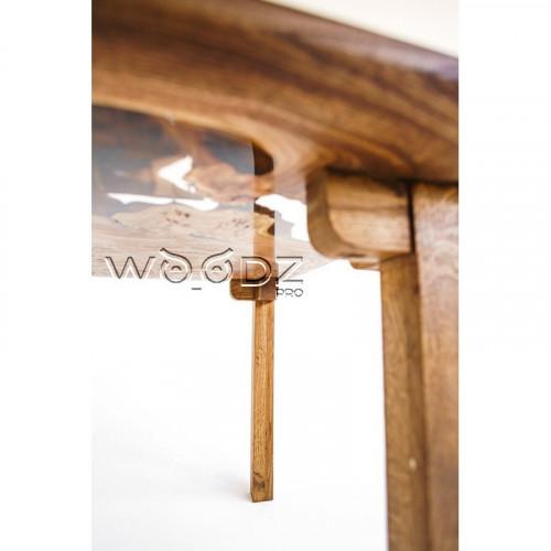 Обеденный стол из карагача с прозрачной рекой - Model 170