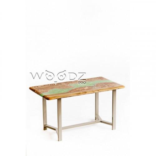 Стол из карагача с зеленой перламутровой рекой - Model 166/1
