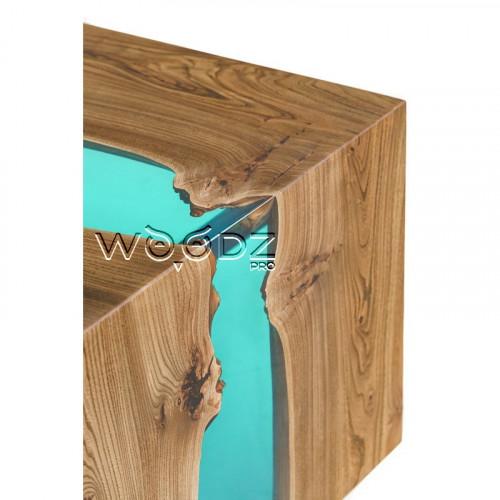 Стол с водопадом из карагача с рекой морская волна