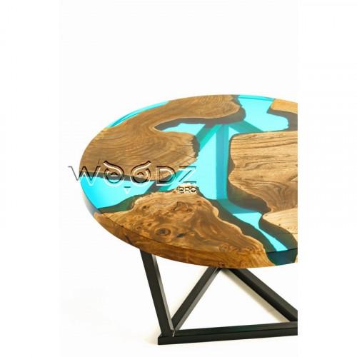 Круглый стол из карагача с голубой рекой