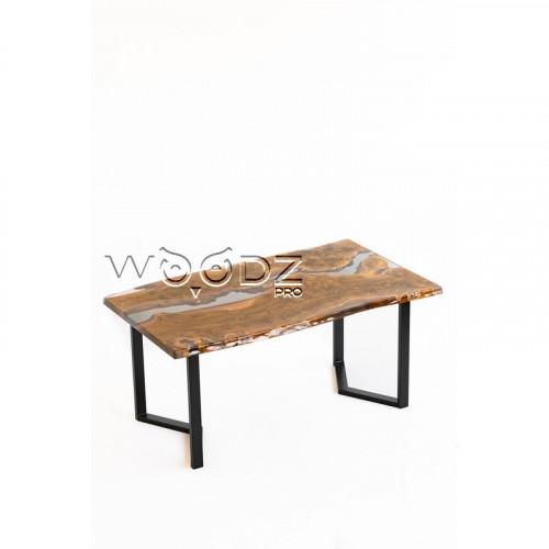 Обеденный стол из карагача с прозрачной рекой - Model 191