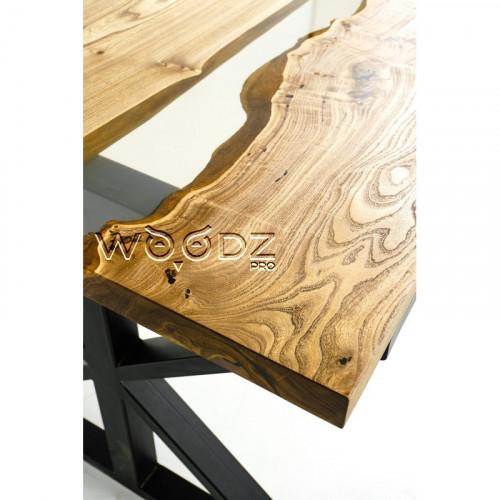 Обеденный стол из карагача с прозрачной рекой - Model 2632