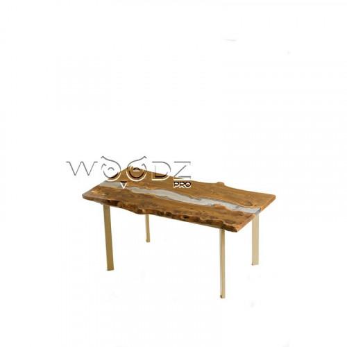 Кухонный стол из карагача со светло-серой рекой - Model 153