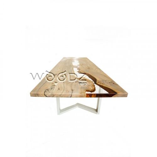 Обеденный стол из карагача с прозрачной рекой - Model 2531