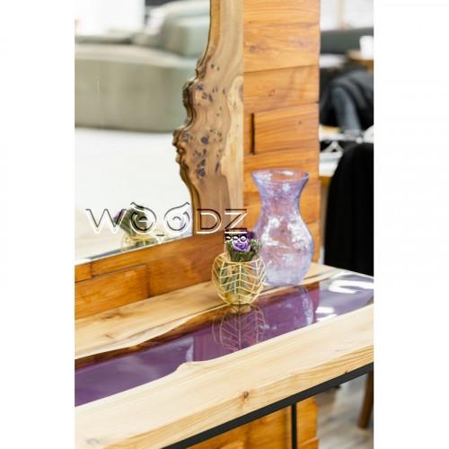 Консоль из Карагача с фиолетовой рекой - Model 20