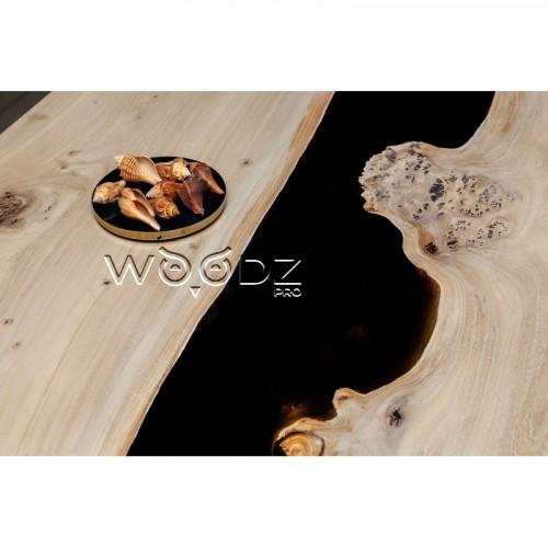 Обеденный стол из Карагача с черной рекой - Model 1504