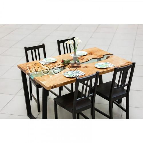 Обеденный стол с рекой цвета легкий тиффани
