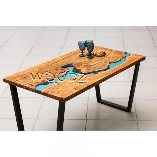 Обеденный стол из Карагача с голубой рекой - Model 21