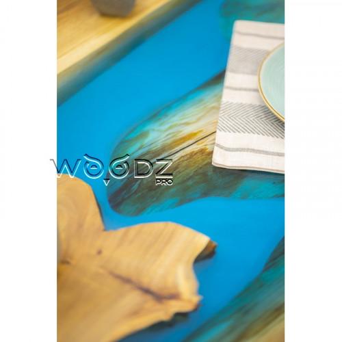 Обеденный стол с голубой рекой из Карагача - Model 1043
