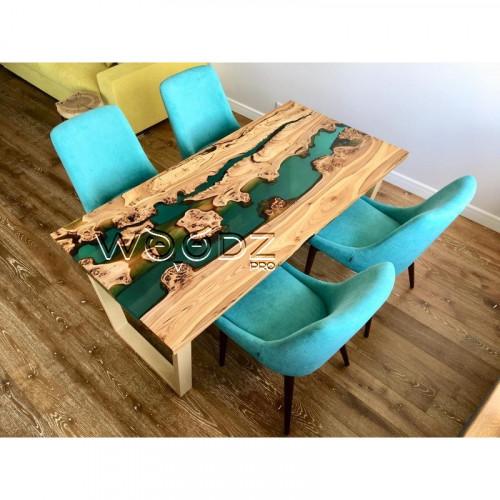 Обеденный стол из карагача с рекой морская волна