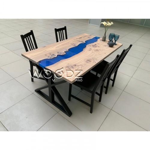 Обеденный стол из карагача с рекой - Model 1447