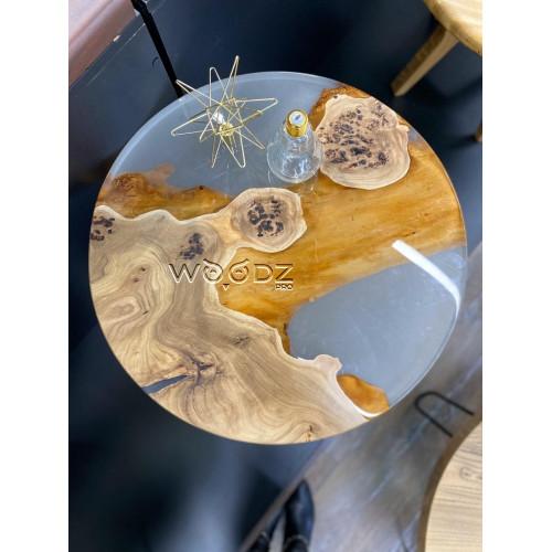 Столик из карагача с серой перламутровой заливкой
