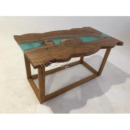 Обеденный стол из карагача с заливкой тиффани - Model 3200