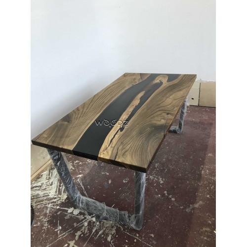 Обеденный стол из массива с темно-серой рекой