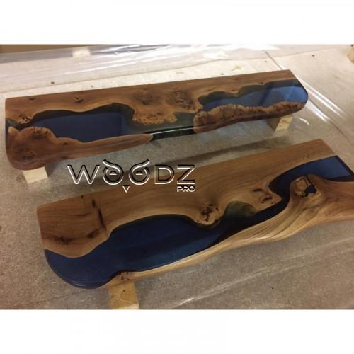 Полки из карагача с синей рекой - Model 153/1