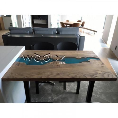 Стол из карагача с рекой голубого цвета - Model 204