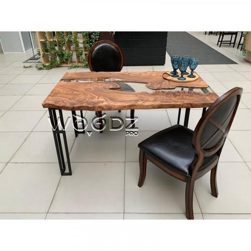 Обеденный стол из Карагача с прозрачной рекой - Model 1845